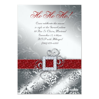 Brilho da correia do papai noel da foto do cartão convite 12.7 x 17.78cm