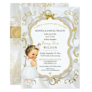 Brilho da cruz do ouro do baptismo do bebé do convite 12.7 x 17.78cm