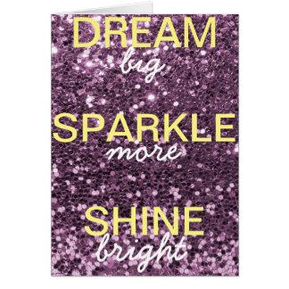 Brilho da faísca do sonho do brilho da lavanda cartão comemorativo