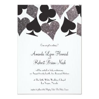 Brilho da prata do falso do convite de casamento