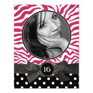 Brilho da zebra e rosa do doce 16 da foto de convite 10.79 x 13.97cm