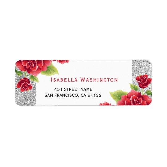 Brilho das rosas vermelhas & da prata da aguarela etiqueta endereço de retorno