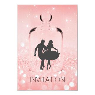 Brilho de cristal do rosa do Vip do partido do Convite 8.89 X 12.7cm