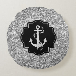 Brilho de prata & âncora náutica do barco almofada redonda