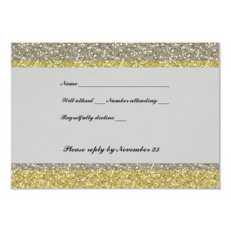 Brilho de prata extravagante RSVP do ouro Convite 8.89 X 12.7cm