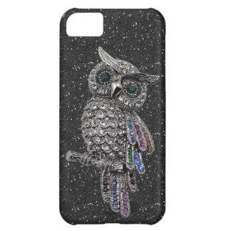 Brilho de prata impresso do preto da coruja & das capa para iPhone 5C