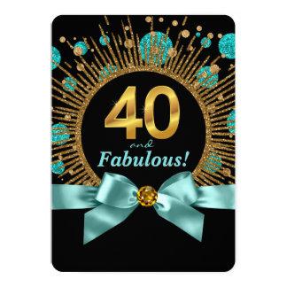 Brilho do azul e do ouro da cerceta do aniversário convite 12.7 x 17.78cm