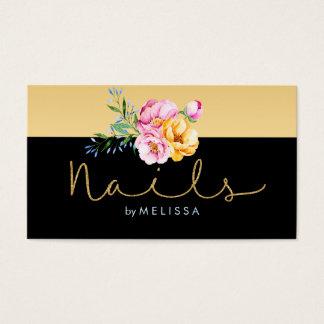 Brilho do ouro das unhas & buquê floral colorido cartão de visitas