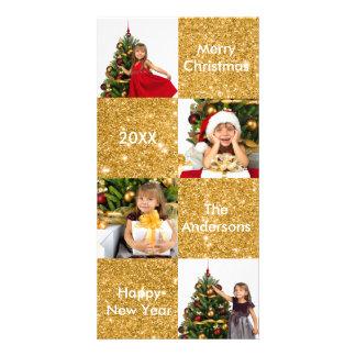 Brilho do ouro de 8 quadrados - cartões de foto de cartão com foto