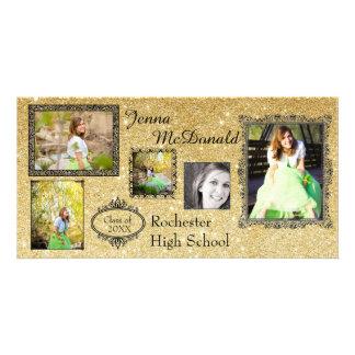 Brilho do ouro do falso - cartão com fotos do cartão com foto