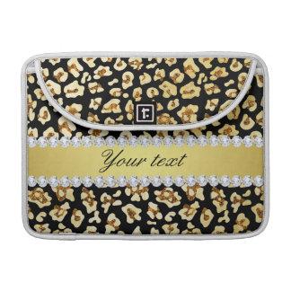 Brilho do ouro do falso do leopardo e preto da bolsas para MacBook pro