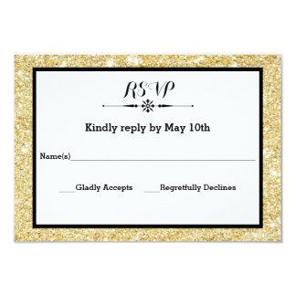 Brilho do ouro e cartão preto da resposta do convite 8.89 x 12.7cm