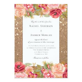 Brilho do ouro e convite floral do casamento