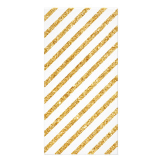 Brilho do ouro e teste padrão diagonal branco das cartão com foto