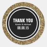 Brilho do ouro & obrigado que feito sob encomenda adesivo redondo