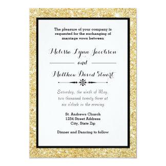 Brilho do ouro & quadro preto - convite do
