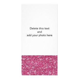 Brilho do rosa quente impresso cartão com foto