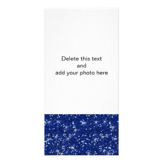 Brilho dos azuis marinhos impresso cartão com foto
