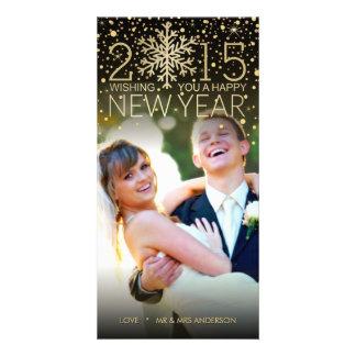 Brilho dos confetes do floco de neve do feliz ano cartão com foto