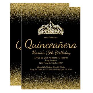 Brilho dourado, convites de Quinceanera