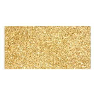 Brilho elegante do ouro do falso cartão com foto