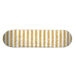 Brilho elegante do ouro do falso e teste padrão shape de skate 18,1cm