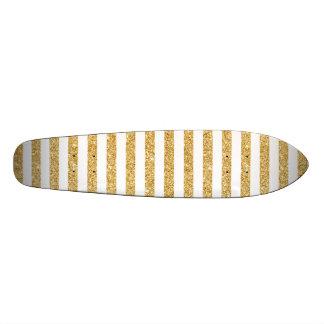 Brilho elegante do ouro do falso e teste padrão shape de skate 18,4cm
