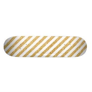 Brilho elegante do ouro do falso e teste padrão shape de skate 18,7cm