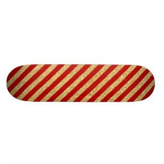 Brilho elegante do ouro do falso e teste padrão shape de skate 20cm