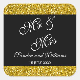 Brilho elegante do ouro e Sr. & Sra. pretos Adesivo Quadrado