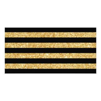 Brilho elegante do ouro e teste padrão preto da cartão