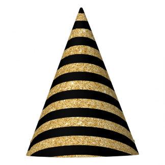 Brilho elegante do ouro e teste padrão preto da chapéu de festa