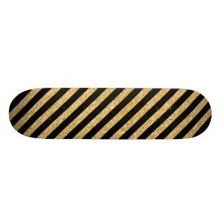 Brilho elegante do ouro e teste padrão preto da shape de skate 20cm