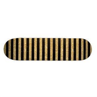 Brilho elegante do ouro e teste padrão preto da shape de skate 21,6cm