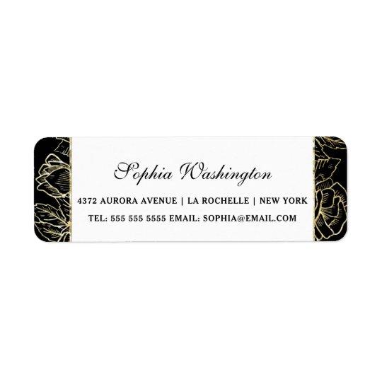 Brilho elegante do ouro & endereço preto do etiqueta endereço de retorno