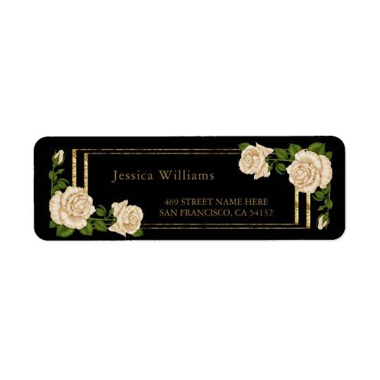Brilho elegante dos rosas & do ouro do marfim etiqueta endereço de retorno