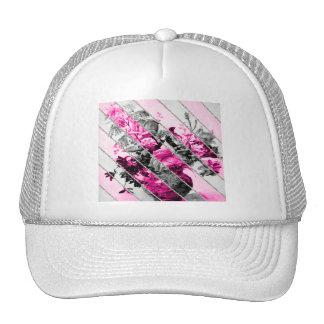 Brilho floral branco preto cor-de-rosa das listras boné