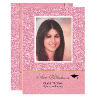 Brilho-Graduação cor-de-rosa Sparkling Convite 12.7 X 17.78cm