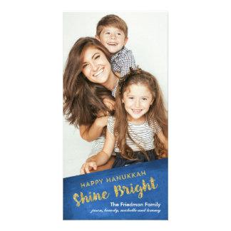 Brilho Hanukkah feliz brilhante do brilho do ouro Cartão Com Foto