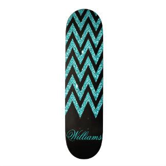 Brilho legal do falso do azul de pavão do ziguezag shape de skate 19,7cm