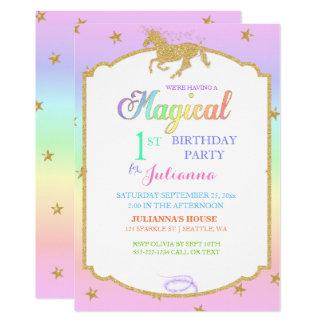 Brilho mágico do arco-íris & do falso do unicórnio convite 12.7 x 17.78cm
