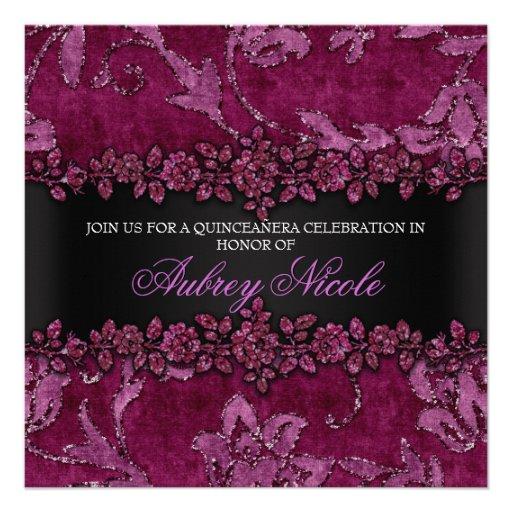 Brilho marrom do falso & veludo Quinceanera floral Convites Personalizado