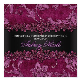 Brilho marrom do falso & veludo Quinceanera floral Convite Quadrado 13.35 X 13.35cm