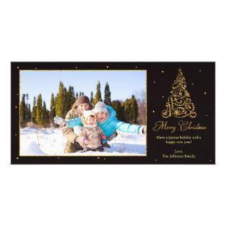 Brilho ornamentado da árvore de Natal Cartão Com Foto