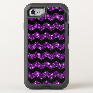 Brilho roxo à moda na moda Chevron Capa Para iPhone 7 OtterBox Defender