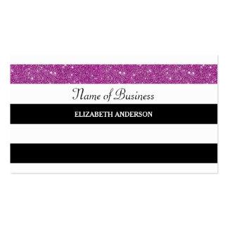 Brilho roxo chique das listras preto e branco cartão de visita