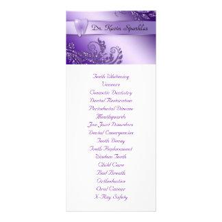 Brilho roxo das folhas do dente do menu do serviço 10.16 x 22.86cm panfleto