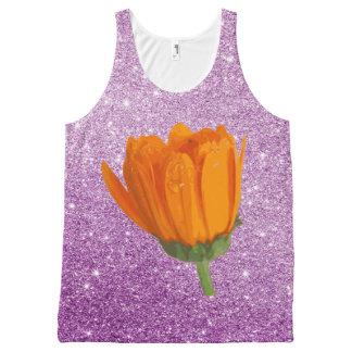 Brilho roxo do falso da flor alaranjada vibrante regata com estampa completa