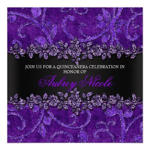 Brilho roxo do falso & veludo Quinceanera floral Convite