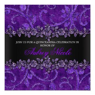 Brilho roxo do falso & veludo Quinceanera floral Convite Quadrado 13.35 X 13.35cm